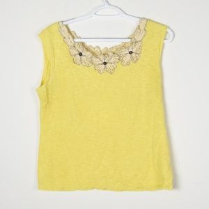Anthropologie Moth Linen Yellow Embellished Top
